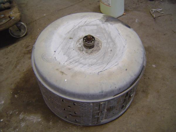 Washing machine drum, covered in lime and soap