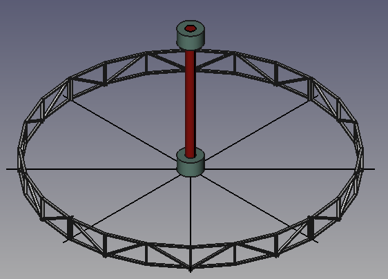 Merry-go-round rotor in FreeCAD, partially