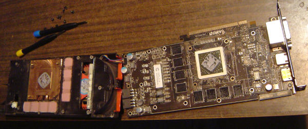 ATI Radeon 5850 circuit board front side and case inside