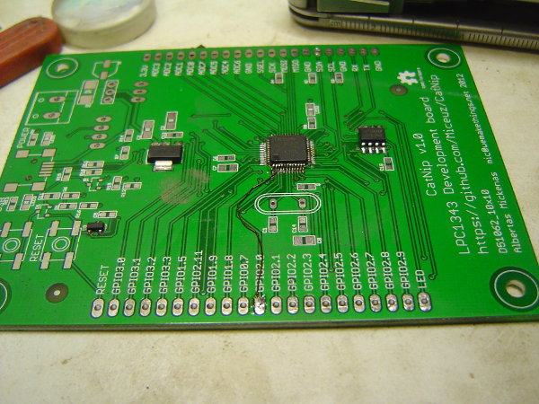 CatNip development board, with GPIO2.0 output connector wired-up directly to the microcontroller