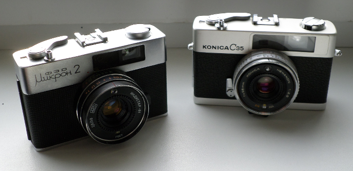 Konica C35 and FED Mikron 2
