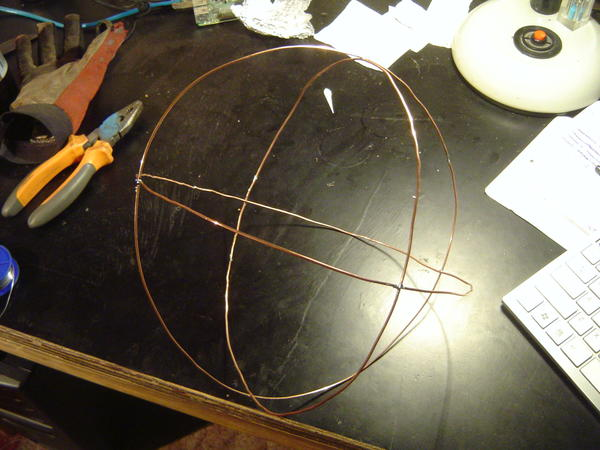 Wireframe orb held together by solder